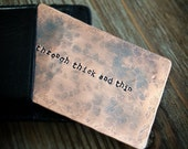 Copper Wallet Card - Rustic Hand Stamped Personalized Quote or Love Note - 7th Anniversary Gift - Unique Gitf for Him or Her