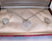 Taylor Maid Heart Necklace and Earrings / Heart Rhinestone Necklace and Earrings