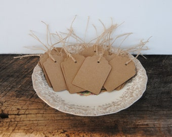 25 Kraft Cardstock Hand Punched Paper Tags with Burlap Sting