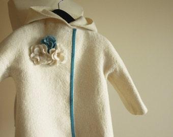 Felted coat for spring - white wool coat - girls coat - wool felt jacket - Christening gown - ECO
