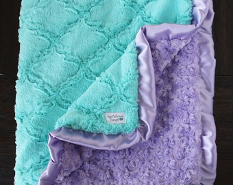 Minky Blanket, baby girl, blanket for girl, aqua and lavender, light blue, soft blanket, Lattice Print, Ruffle Blanket, Ruffle blanket
