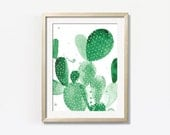 Green Cactus Print Watercolor 11 x 14""