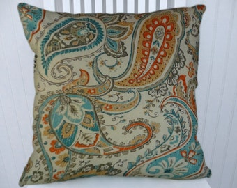 Orange Blue Paisley Pillow Cover- 18x18 or 20x20 or 22x22 Decorative Throw Pillow Cover- Accent Pillow Cover