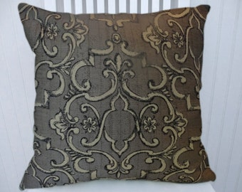 Gray Decorative Pillow Cover-- 18x18 or 20x20 or 22x22 Scroll Throw Pillow- Accent Pillow Cover