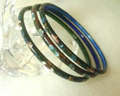 3 Dark Cloisonne Flower Bangle Bracelets - Chinese Hand Crafted 1980's - No. 1447