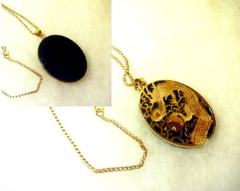 Reversible Golden Dragon on Jet Pendant Necklace - No. 1412