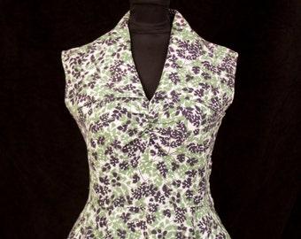 1950s Dress // Silhouette Contrasting Color Leaf Print Full Skirt Sundress