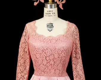 1950s Dress // Pink Lace and Satin Full Skirt Party Dress