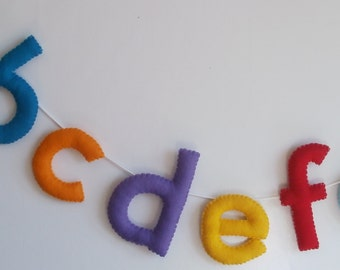Felt alphabet bunting - alphabet garland - felt letter bunting - colourful letter bunting