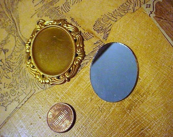 Vintage Brass Finding With Mirror Great for Doll Houses or Jewelry