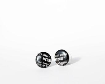 LP stud earrings black post earrings 16mm black studs vinyl record studs cool earrings black earrings ironic jewelry hypoallergenic studs