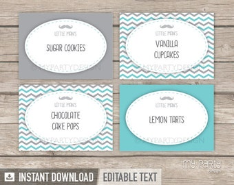Mustache Food Labels - Place Cards - Little Man Baby Shower - INSTANT DOWNLOAD - Printable PDF with Editable Text