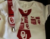 OU Sooners Onesie w/ Necktie and Pocket - Matching Pacifier Clip Optional