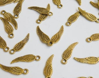 20 Tiny Angel Wing charms antique gold steampunk 18x5mm P3344AG