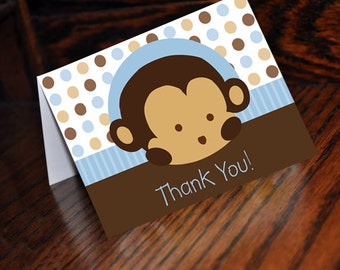 INSTANT DOWNLOAD Mod Pod Pop Monkey Blue Thank You Cards Digital Files