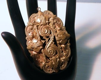 Amazingly Detailed Bronze Victorian Pendant