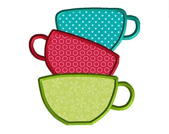 Tea Cups Machine Embroidery Applique Design-INSTANT DOWNLOAD