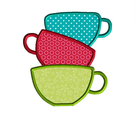 Tea Cups Machine Embroidery Applique Design-INSTANT DOWNLOAD
