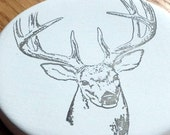 cup holder coaster, wine glass coaster - hand stamped bisque tile, absorbent -- deer / buck