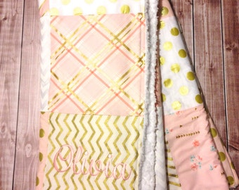 Personalized Girls Patchwork Baby Blanket, Pink and Gold Baby Girl Blanket, Michael Miller Fabric Blanket