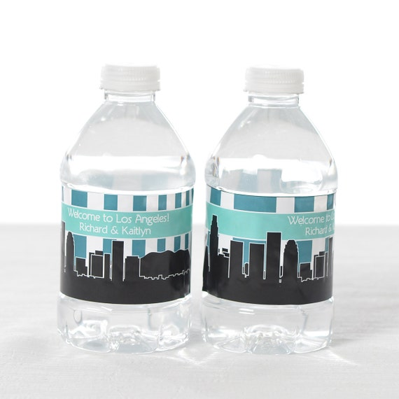 30 Los Angeles Skyline Water Bottle Labels