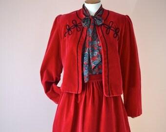 Red Velvet  Holiday Skirt Suit.  Full Skirt with Bolero Jacket.  Vintage 1970's Size  Medium  - VDS112