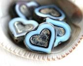 Dark Blue Heart beads, Picasso beads, czech glass, table cut, blue glass heart - 14mm - 6Pc - 0208