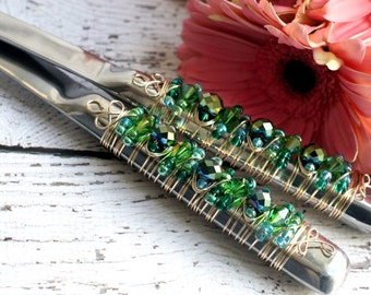 COUTURE Teal Green & Blue Gold Beaded Wire Wrapped Salad Serving Set, birthday, holiday entertaining, autumn dinner, wedding, bridal gift