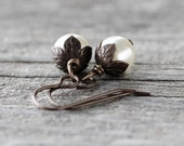 Classic Pearl Earrings: Cream Swarovski Element Drops in Vintage Romantic Style, Antiqued Brass