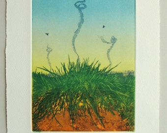 Colour etching from 2 copper plates. Meadow, sky larks and landfill.