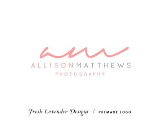 Custom Logo DesignPremade Logo and Watermark for Photographers and Small Businesses Monogram Script Classic Logo Text Only Coral & Grey
