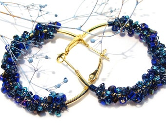 Sapphire Wire Crocheted and Wire Wrapped Earrings