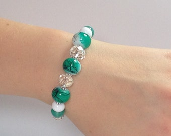Green Jade Blossom - Interchangeable Beaded Watch Band in Silver