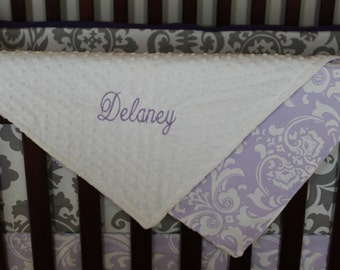Lilac Damask with Minky Blanket