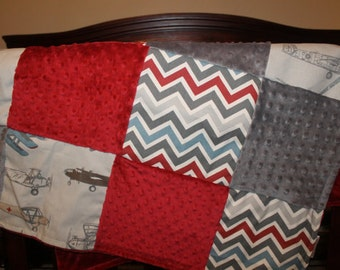 Vintage Airplane , Pewter Chevron, Crimson Minky, and Gray Minky Patchwork Baby Blanket