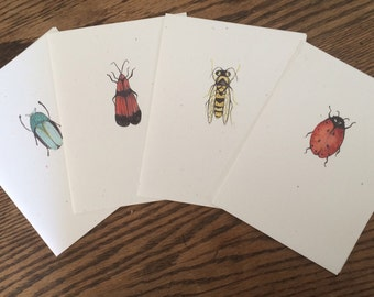 Set of four greeting cards from original watercolor insect designs - blank inside