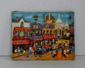 Vintage Picture of French City or Village Scene Paris