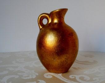 Vintage Gilt Florentine Jug with Handle Antiqued Gold Ceramic Pottery Italian Urn Vase Home Decor