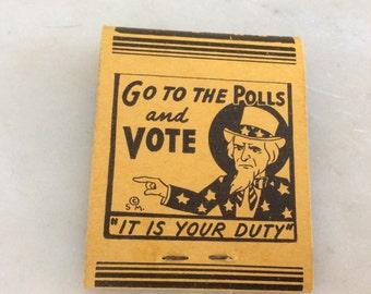 Vintage Uncle Sam Voting Matchbook