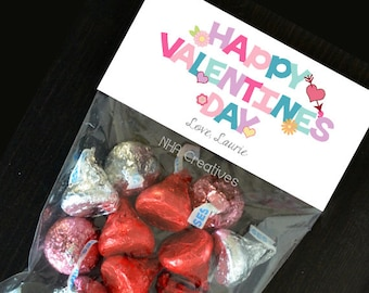 Personalized Happy Valentine's Day Treat Bag Topper - Text - DIY Printable Digital File