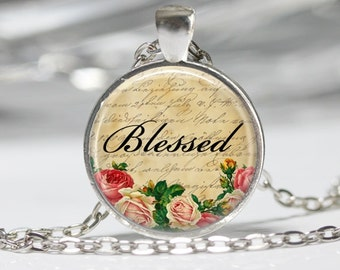 Sayings Necklace Inspirational Jewelry Blessed Necklace