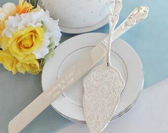 Vintage Romance Style Engraved Wedding Cake Knife Set Wedding Reception Accessories Personalized Wedding Gift