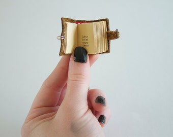 Mini book necklace, Custom book jewelry, Miniature book necklace, mini book pendant, mini leather book, custom poem print, poem, bibliophile