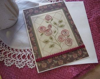 Red Rose Trellis Card