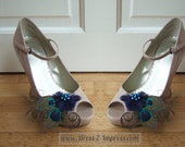 "Bridal Peacock Feathers Blue Green Navy Shoe Clips ""Macie"" SCP1004 (Pair) 2 Days to Make - Winter Wedding Ideas - Mother of the Bride"