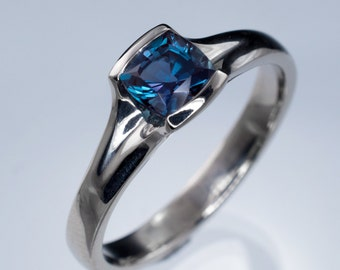 Chatham Created Cushion Cut Alexandrite Fold Semi-bezel Engagement Ring, Palladium, White, Rose or Yellow Gold, Platinum