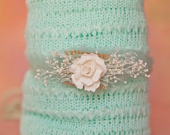 "Beautiful Mint Knit Wrap for Newborns Babies Stretch Wrap 15"" X 60"" Includes FREE head tie Creamy Whites 2 Item Set Very Stretchy Open Weave"