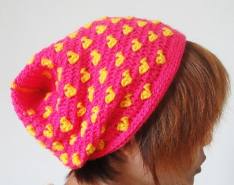 Unique Flat Top Colorful Heart Beanie, Yellow Pink, Cowl, Neckwarmer, winter Accessories, Hand Crocheted Hat, Valentine's Day Gift