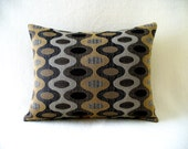 "Pillow with 14"" x 18"" Insert, Black with shades of Browns and Gray Print, Accent Decorative Upholstery Fabric"