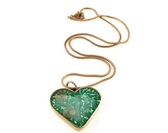 Orgone Energy Pendant - Copper Heart with Malachite Gemstone - Heart Necklace - Malachite Necklace - Artisan Jewelry